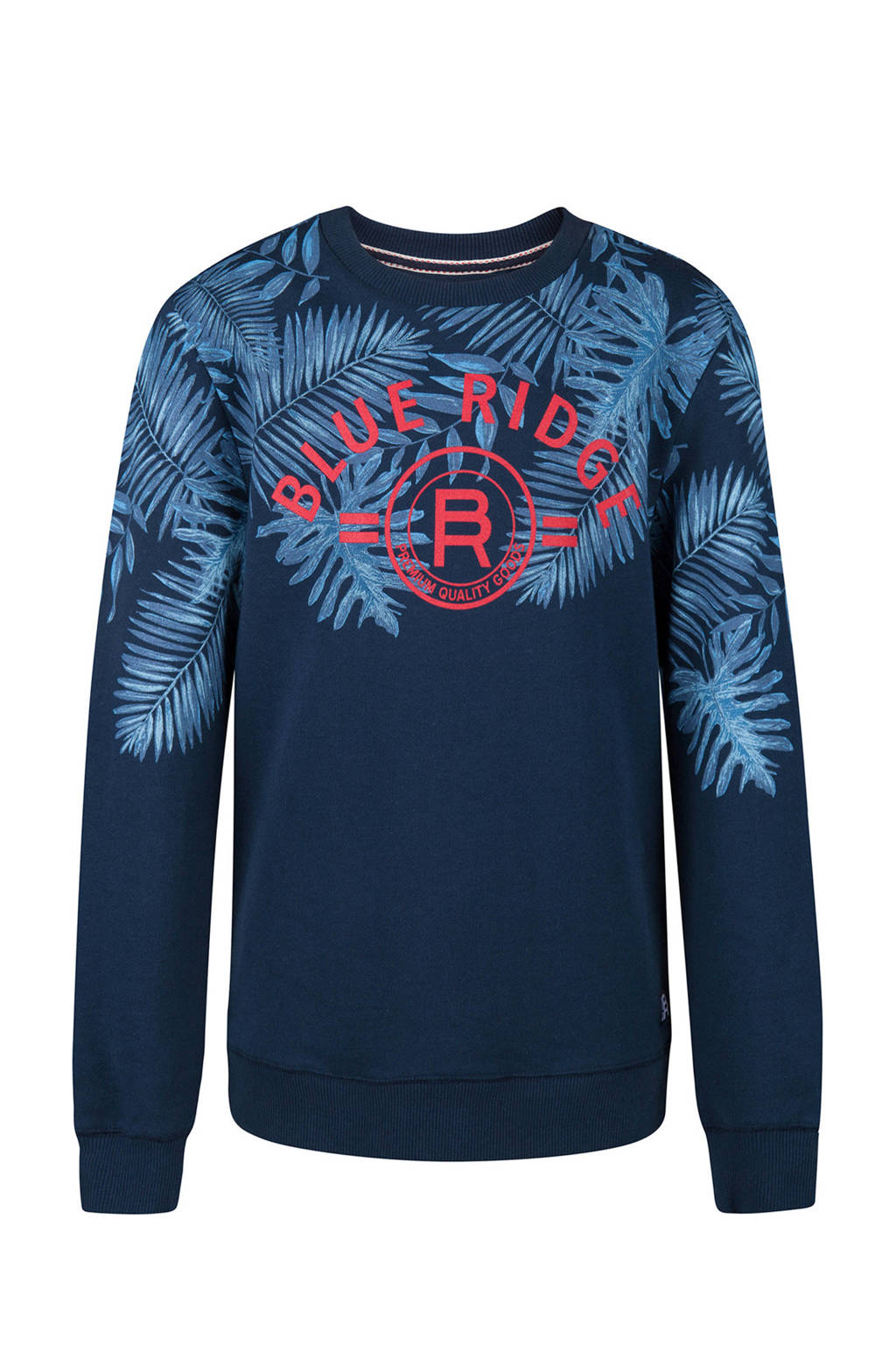 WE Fashion sweater met print donkerblauw, Donkerblauw/blauw