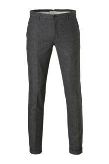 straight fit pantalon met wol grijs