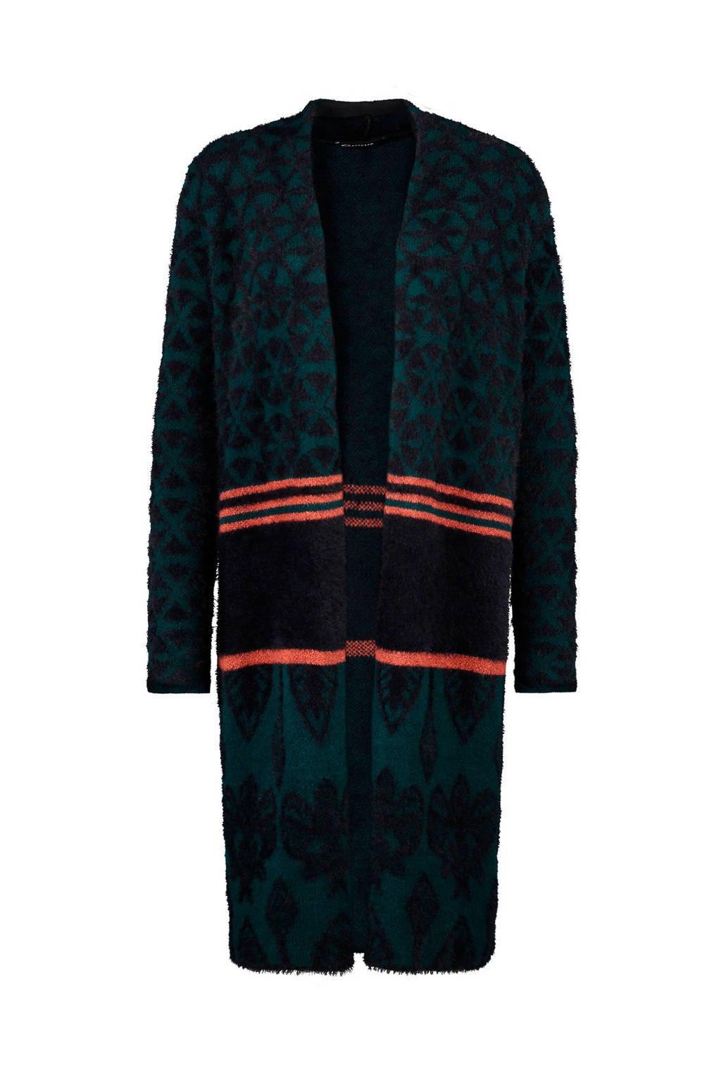 Expresso vest Nell met print zwart, Zwart/groen
