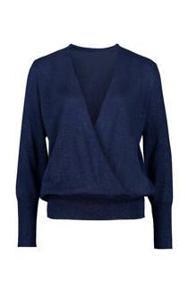 Expresso overslag trui met lurex blauw  (dames)