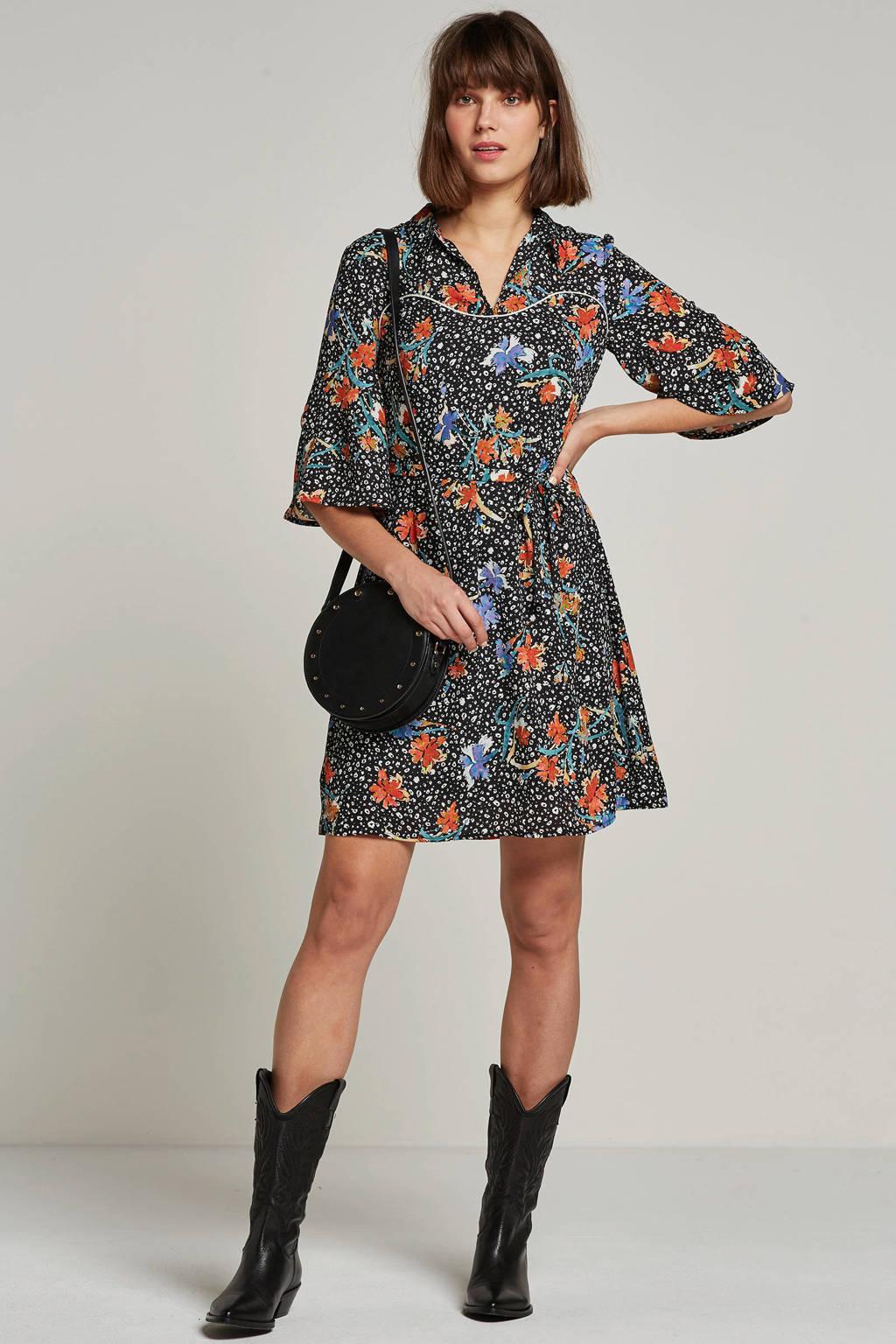 Aaiko jurk met all over print, Zwart/oranje/blauw/wit/groen