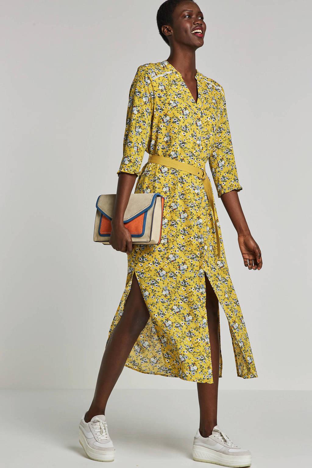 Aaiko jurk met bloemenprint Seleni geel, Geel