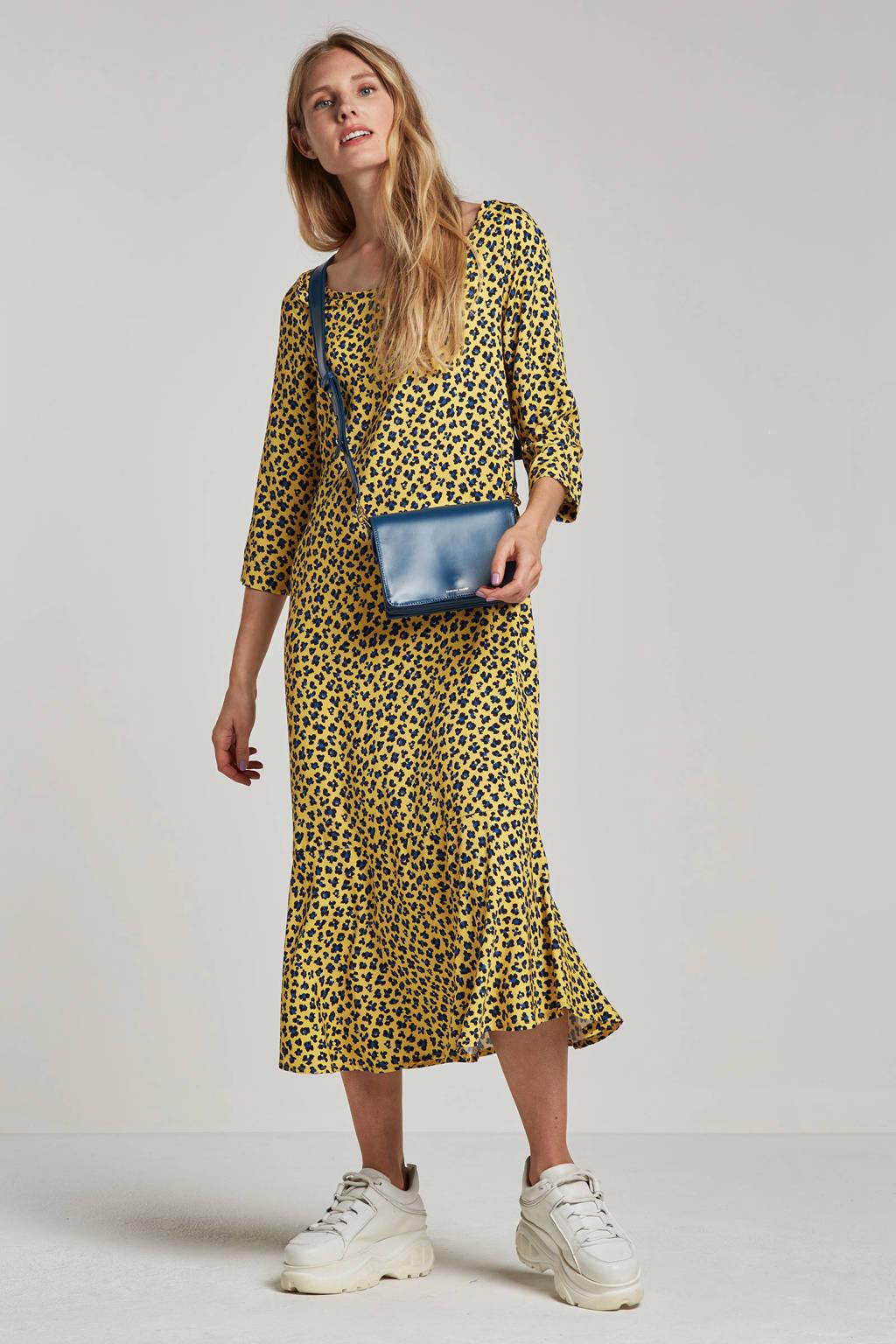 Aaiko jurk met panterprint Auluna geel, Geel