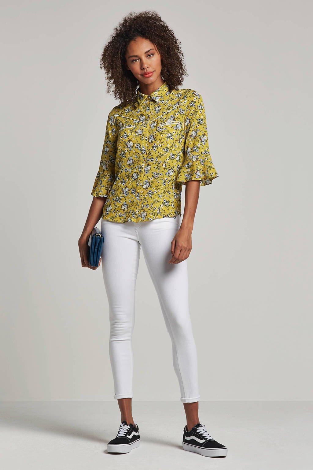 Aaiko blouse met bloemenprint Silie geel, Geel