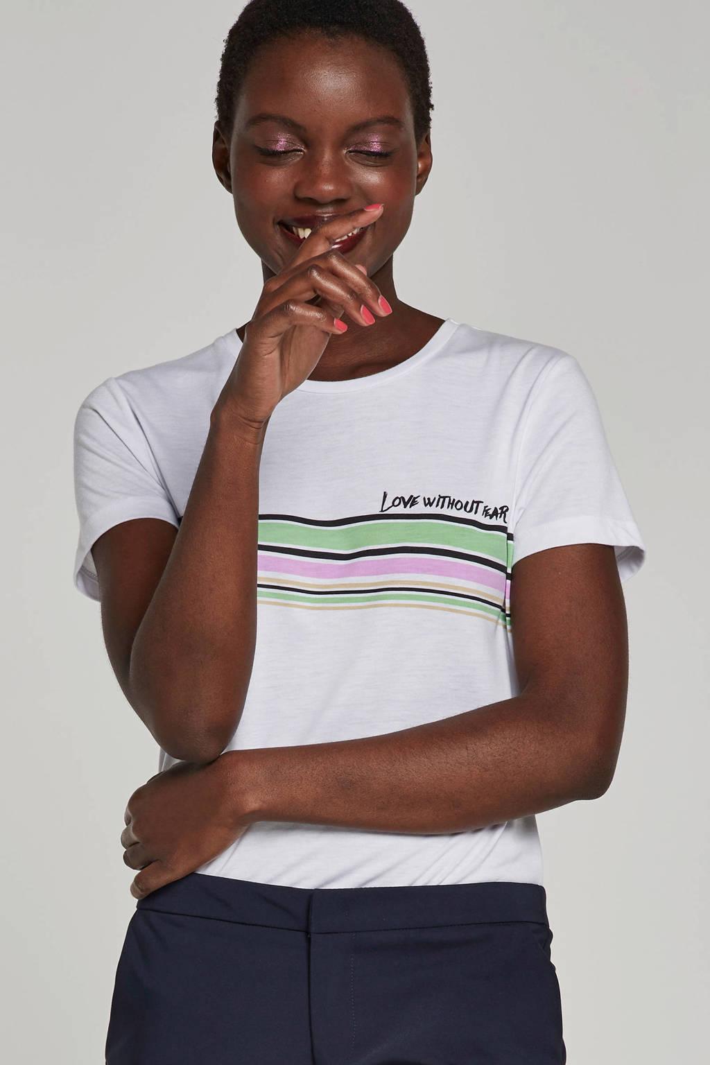 Aaiko T-shirt met printopdruk Joie, Wit