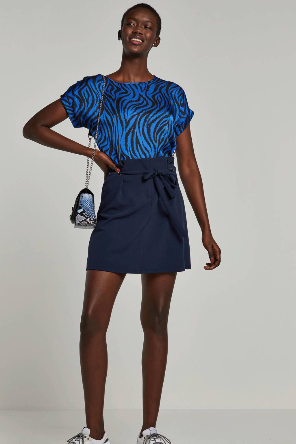 Aaiko T-shirt met zebraprint blauw, Blauw/zwart