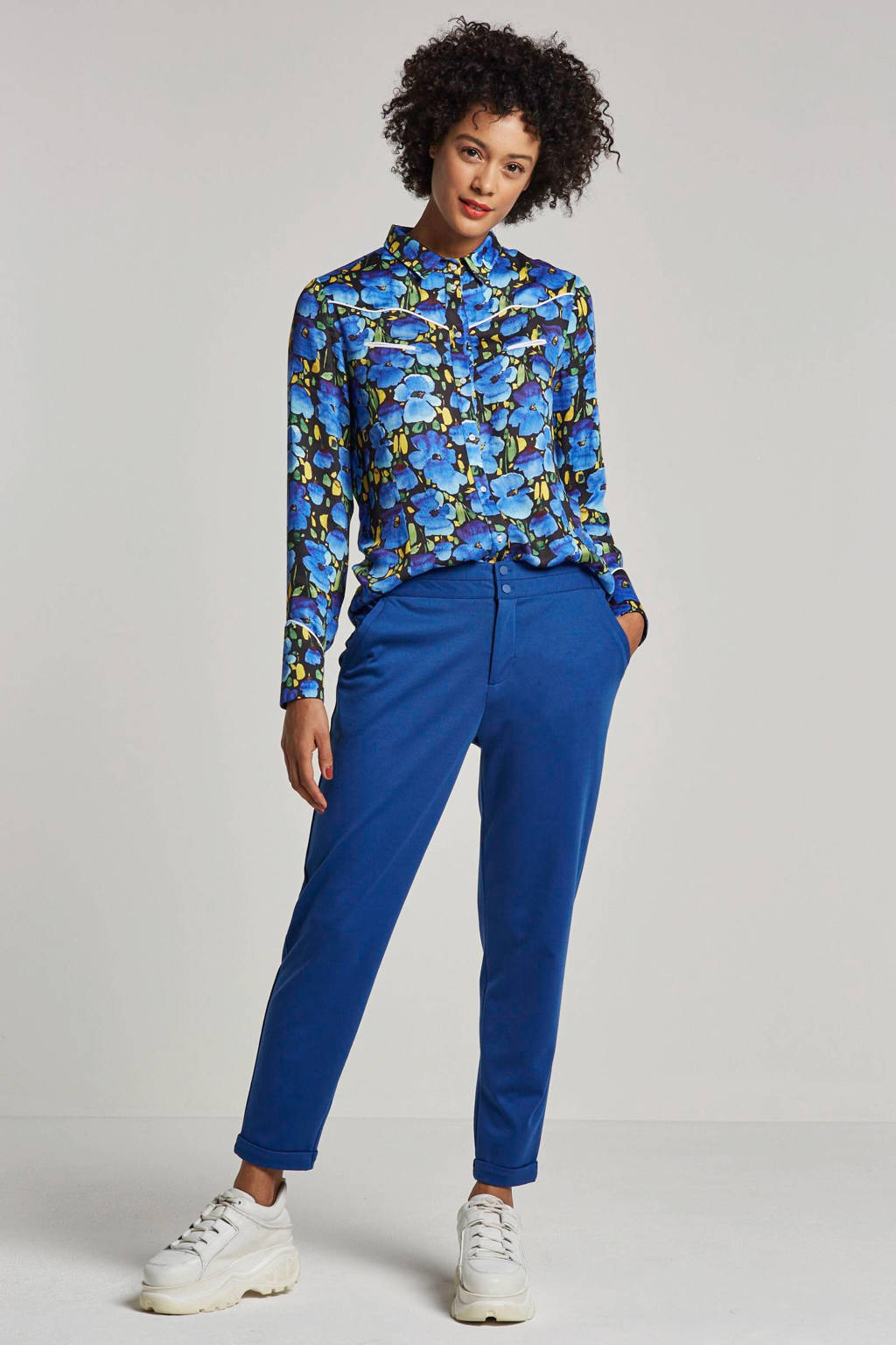 Aaiko blouse met bloemenprint Blaxi blauw, Blauw