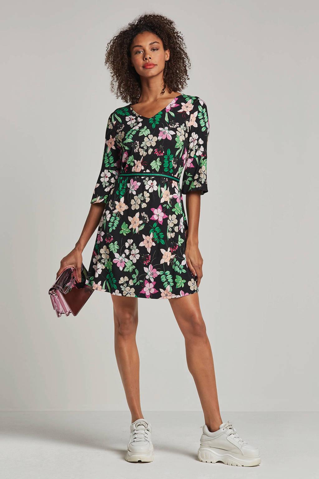 Aaiko jurk met bloemenprint Femmy zwart, Zwart