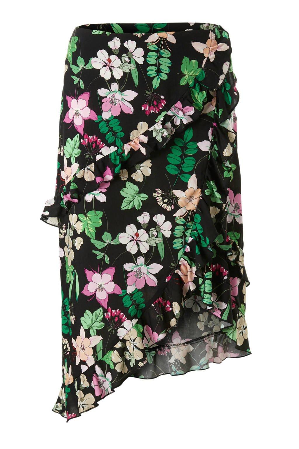 Aaiko rok met bloemenprint Coby zwart, Zwart