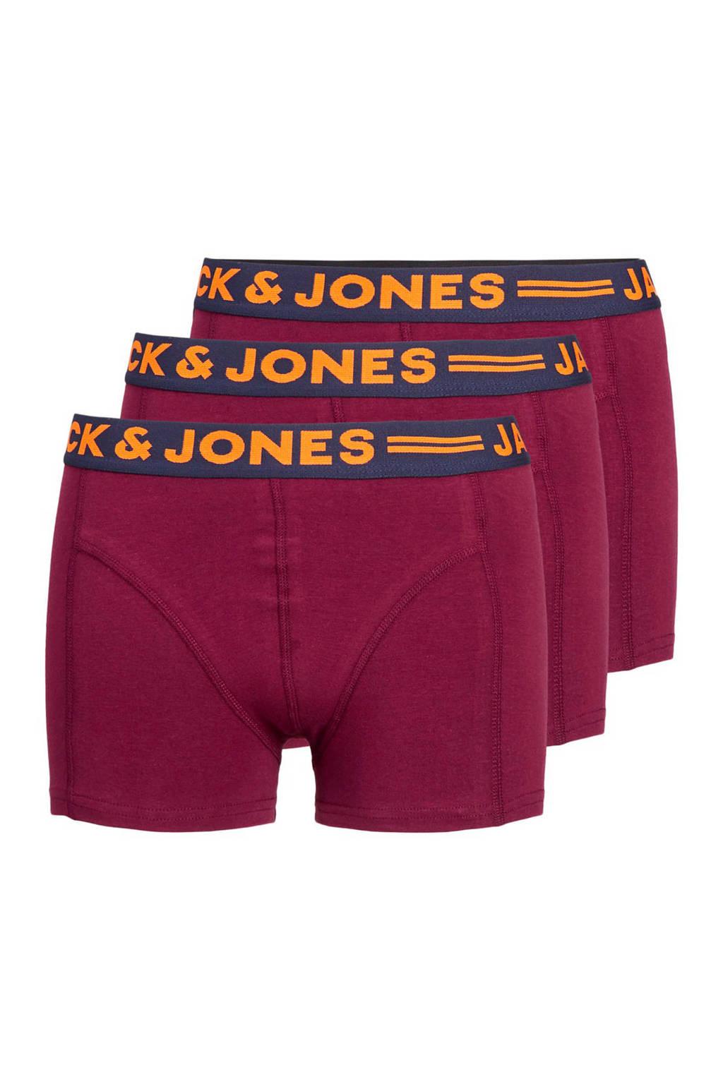 JACK & JONES PLUS SIZE boxershort (set van 3), Bordeaux/marine/grijs
