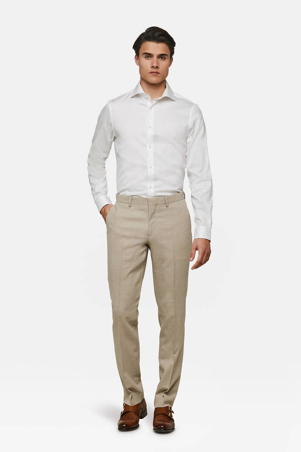 WE Fashion slim fit pantalon, Beige