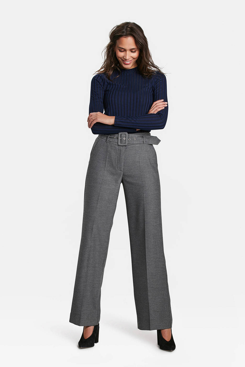 WE Fashion high waist pantalon grijs, Grijs