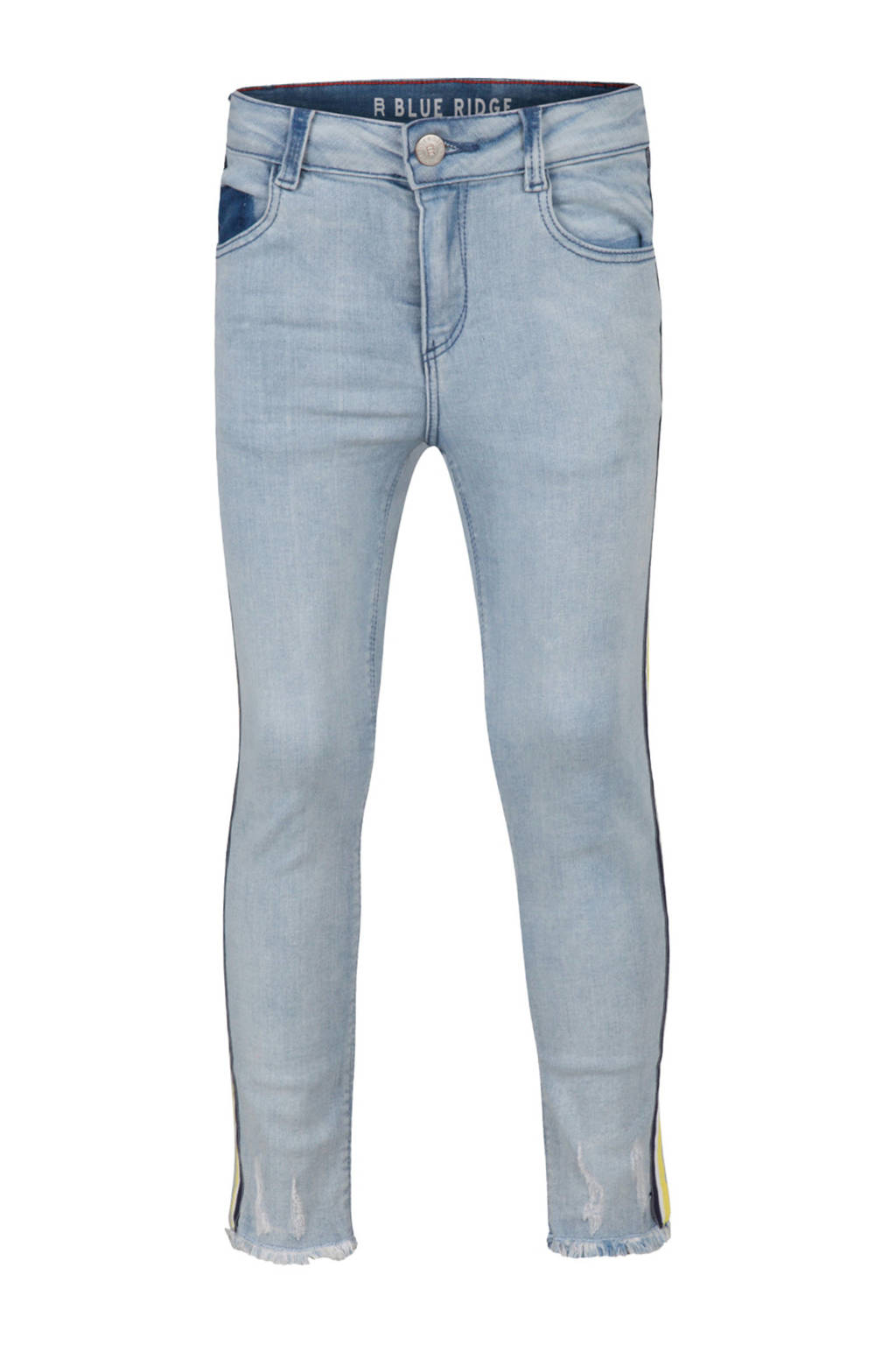 WE Fashion Blue Ridge skinny jeans Helen met zijstreep, Light denim