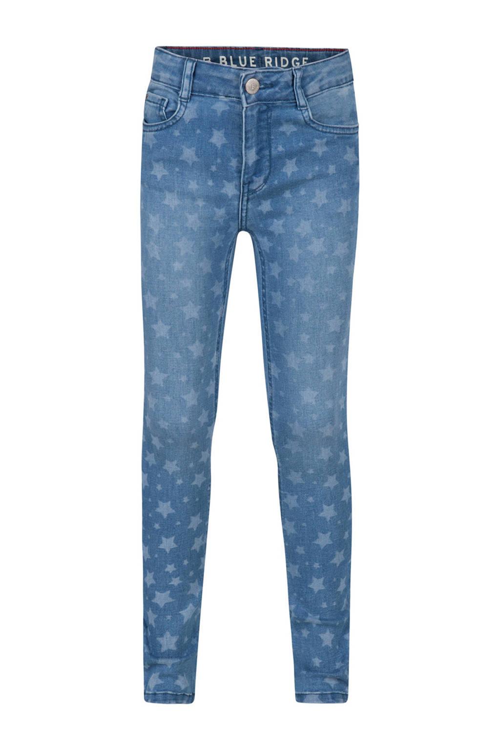 WE Fashion Blue Ridge skinny jeans blauw met sterrenprint, Blue denim