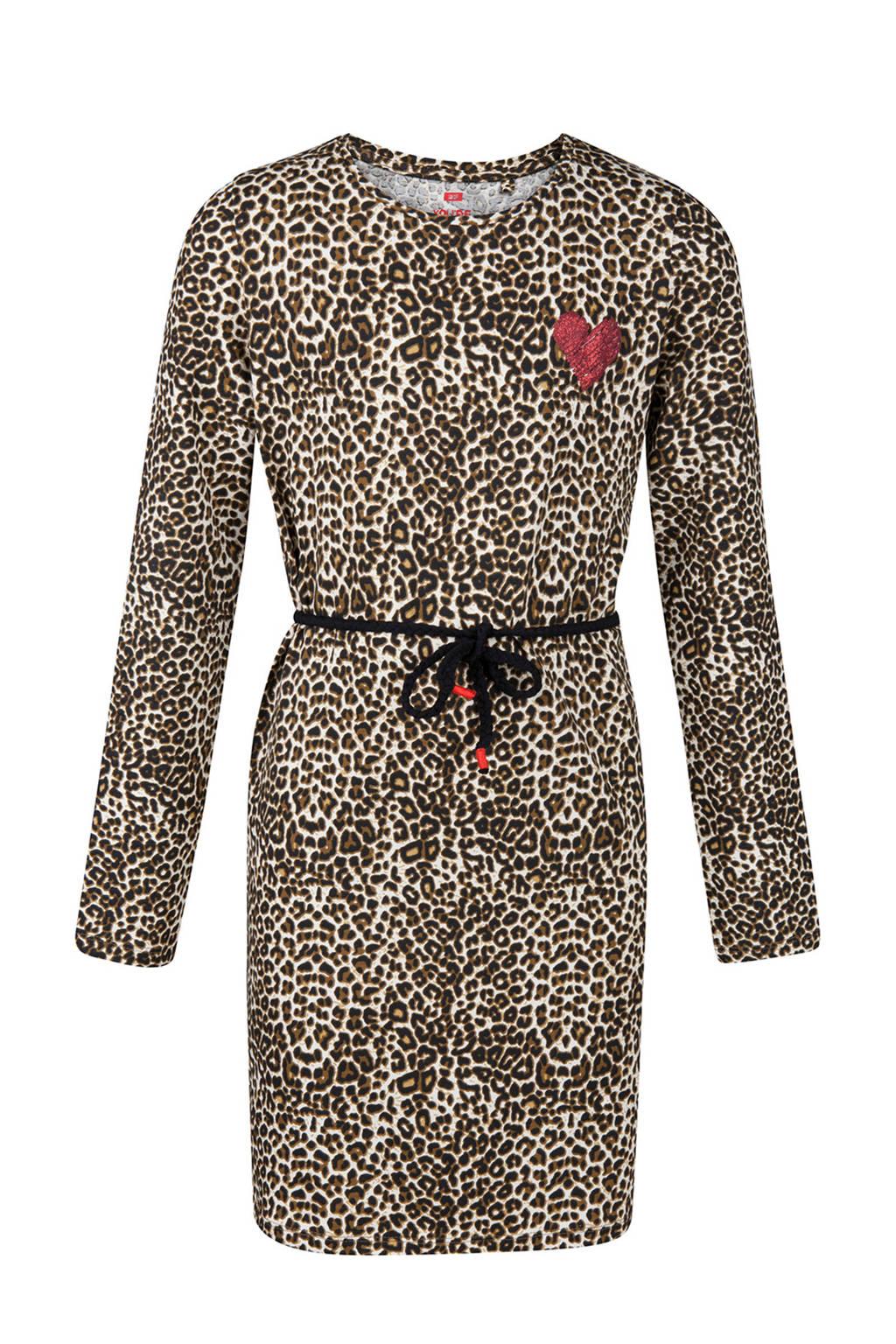 WE Fashion jurk met panterprint, Beige/bruin