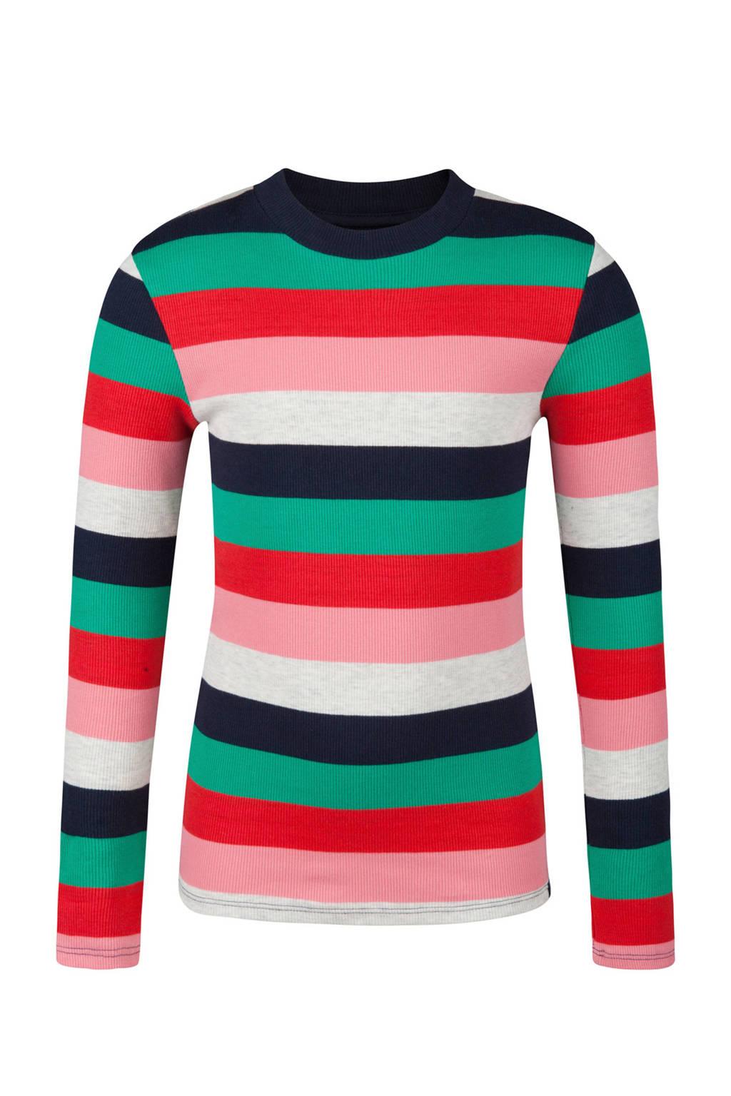 WE Fashion T-shirt gestreept, Marine/ roze/ rood/ groen