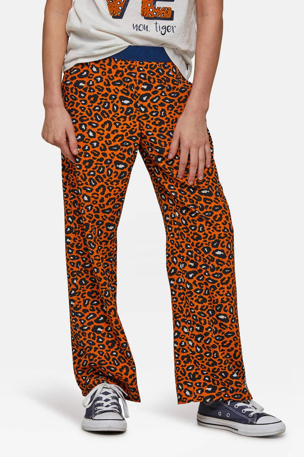 WE Fashion loose fit broek met panterprint oranje, Oranje