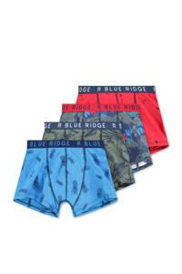 WE Fashion   boxershort - set van 4, Blauw/kaki/rood