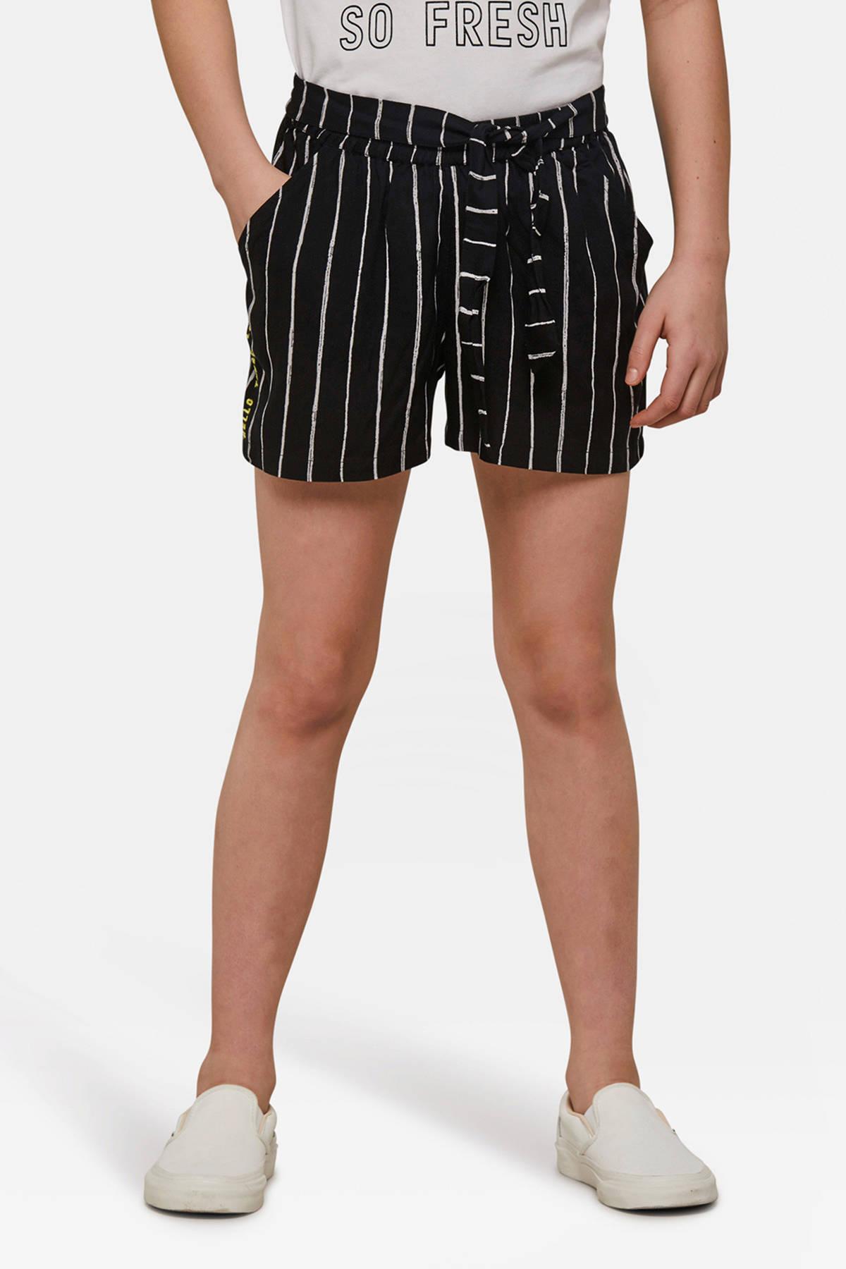 WE Fashion gestreepte loose fit short zwartwit | wehkamp