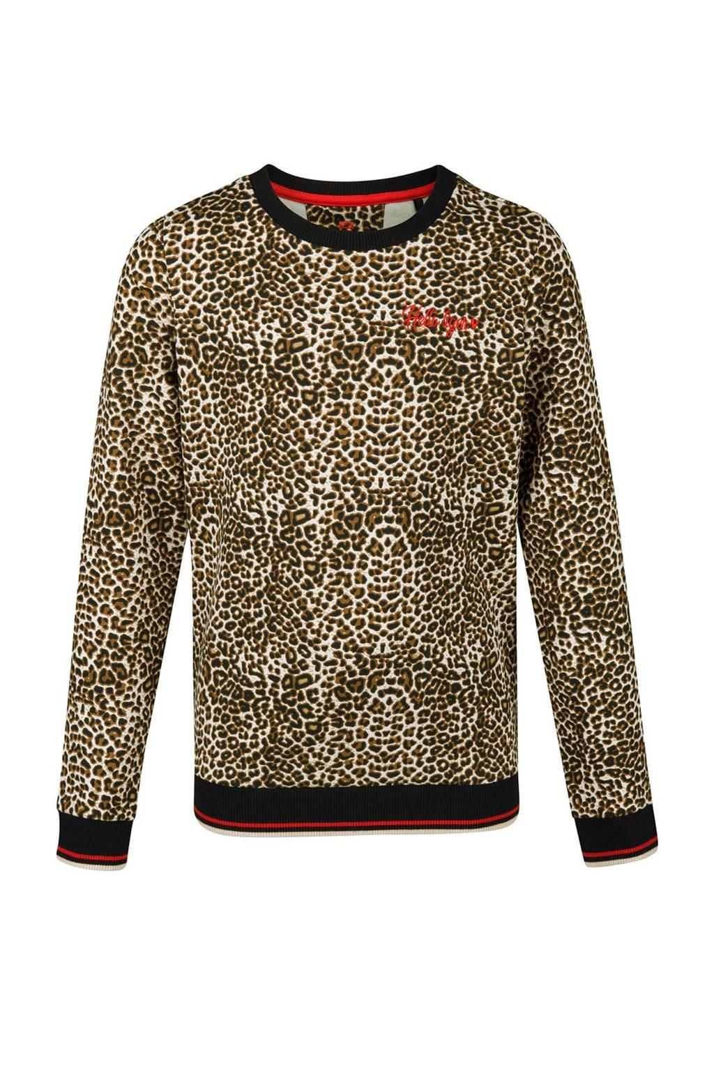WE Fashion sweater met panterprint, Beige