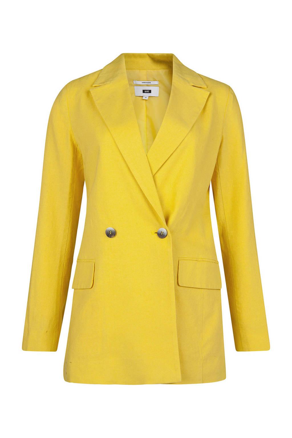 WE Fashion blazer met linnen geel, Geel