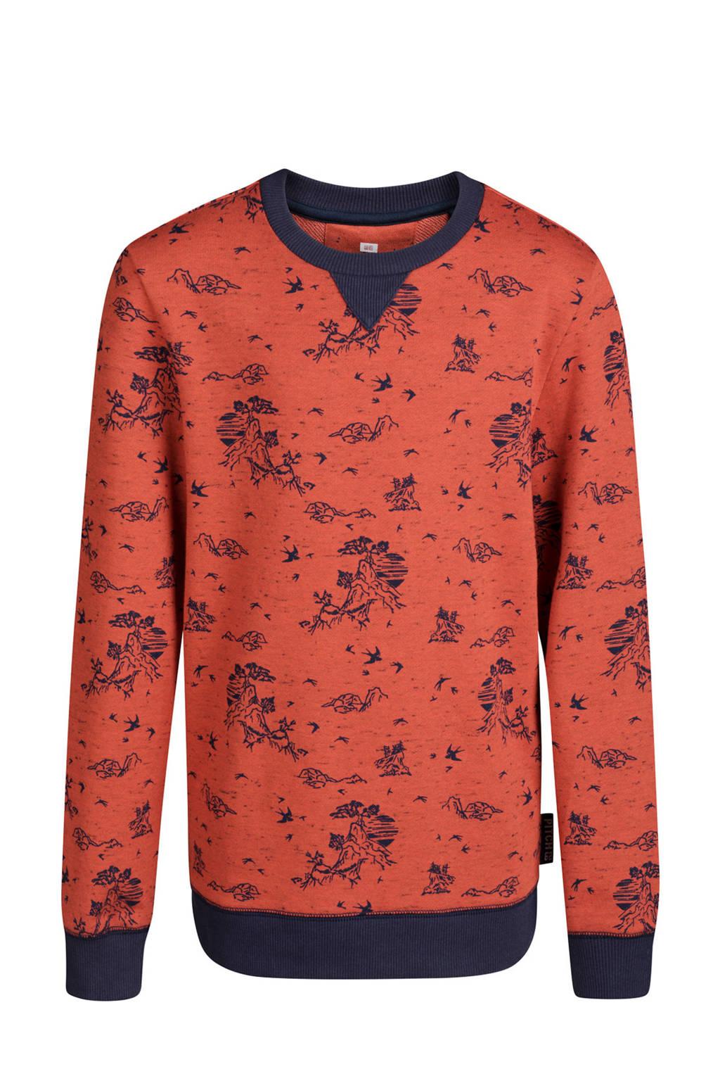 WE Fashion sweater met bergenprint oranje, Oranje/blauw