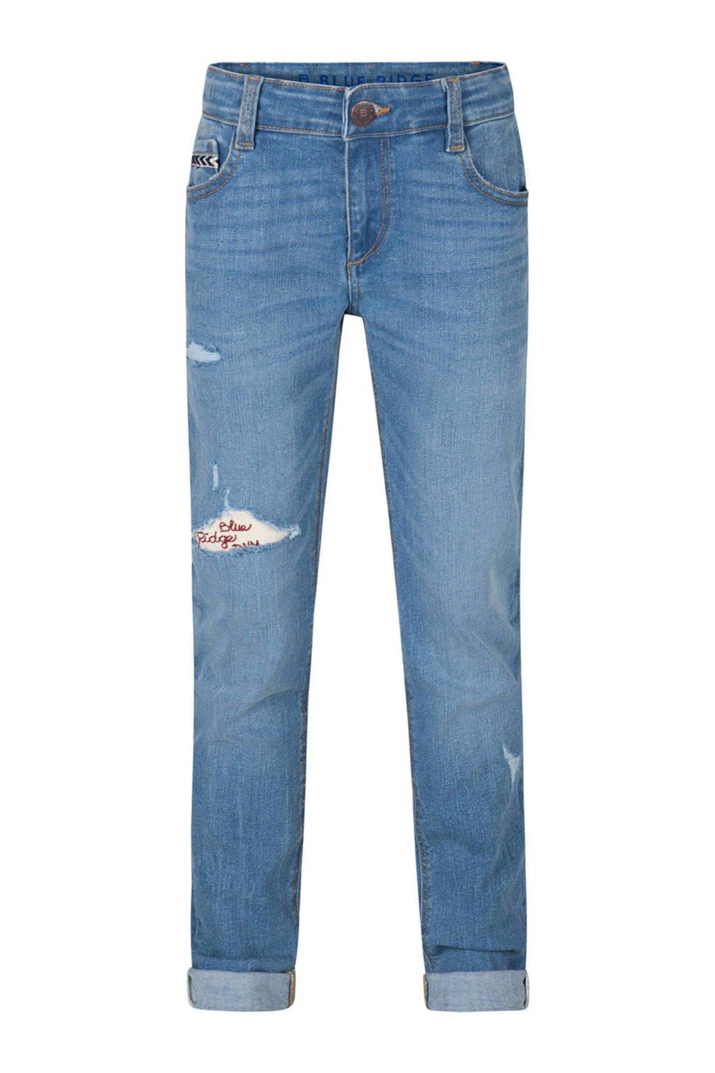 WE Fashion Blue Ridge slim fit jeans Karon met slijtage details, Denim blauw