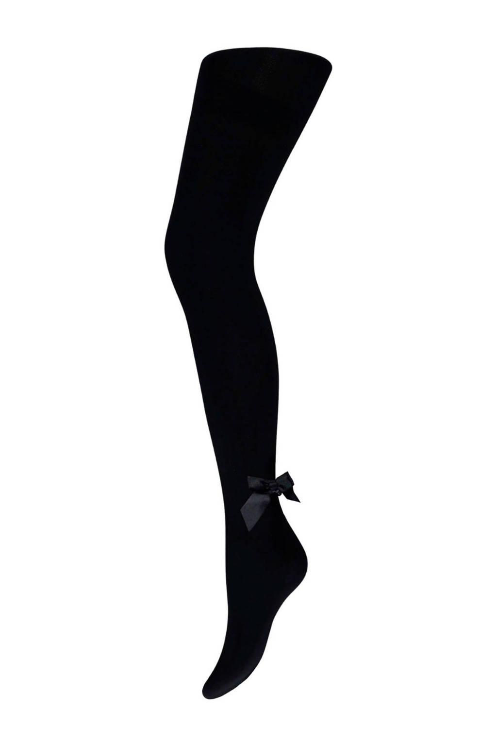Sarlini panty 40 denier met strik zwart, Zwart