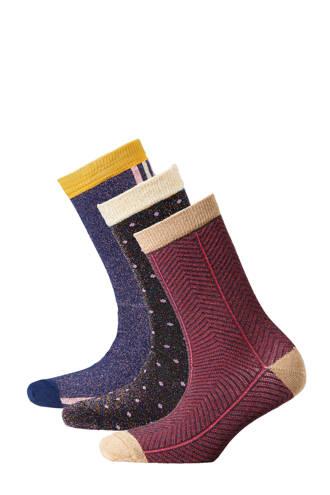 sokken ( 3 paar) donkerrood