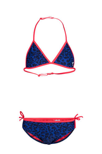 bikini met luipaard print blauw