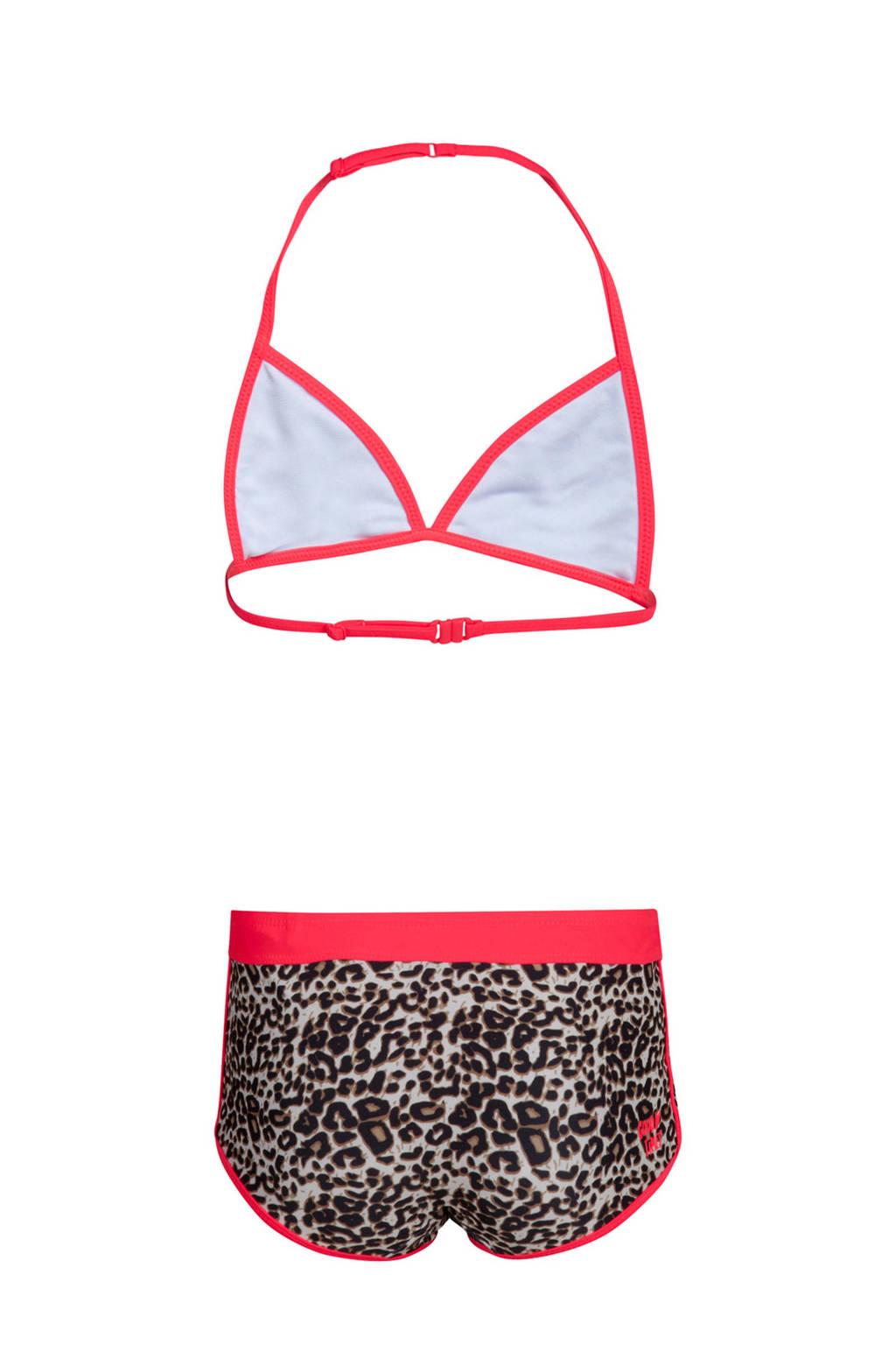 WE Fashion bikini met luipaard print, Bruin/rood