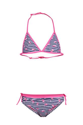 gestreepte bikini met flamingo's roze