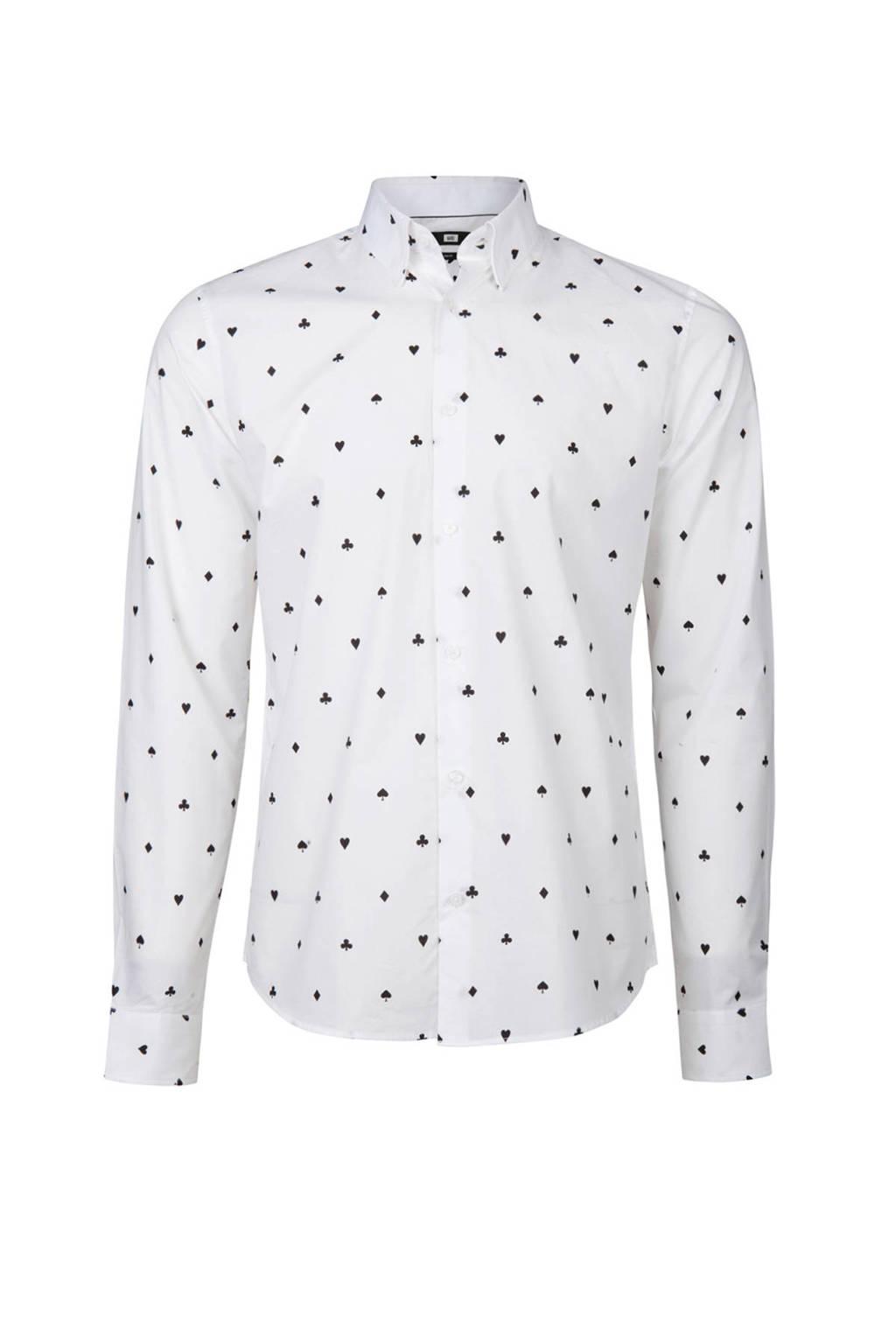 Zwart Overhemd We.We Fashion Slim Fit Overhemd Met Print Wit Wehkamp