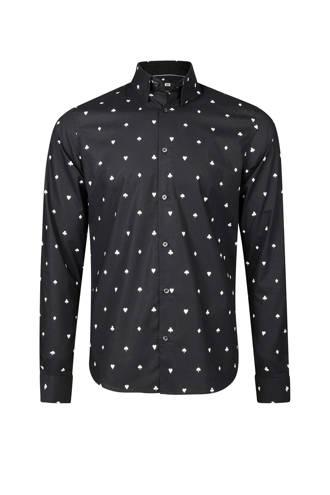 slim fit overhemd met print zwart