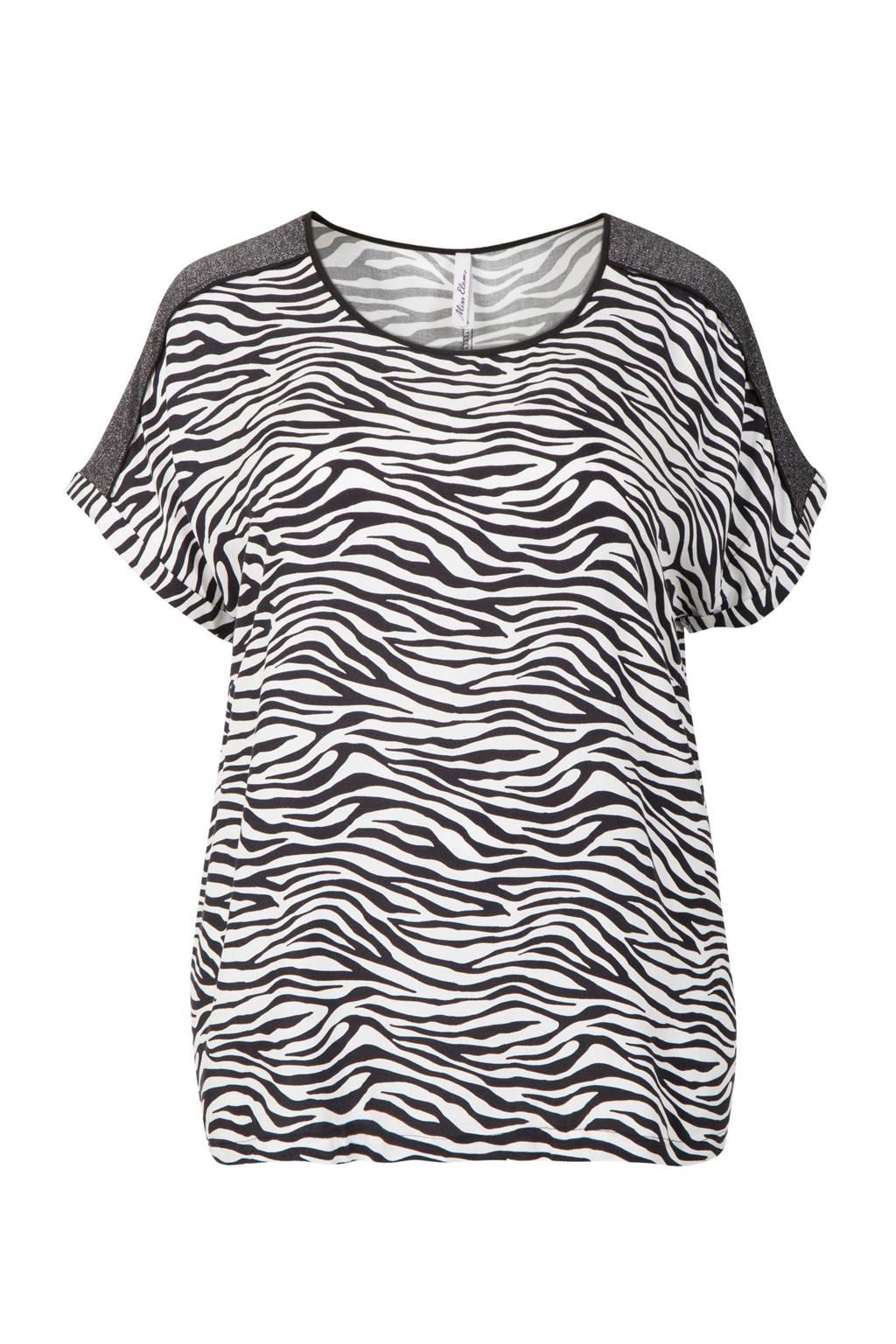 Miss Etam Plus T-shirt zebraprint, Zwart/wit