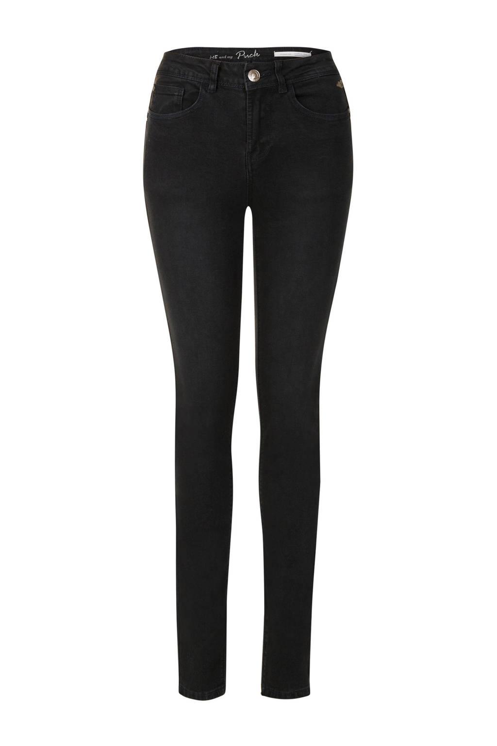 Miss Etam Lang slim fit jeans Puck zwart, Zwart