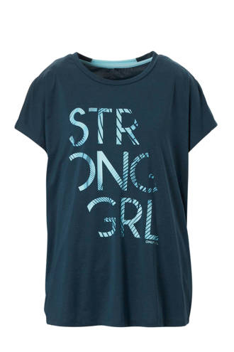Curvy sport T-shirt donkerblauw