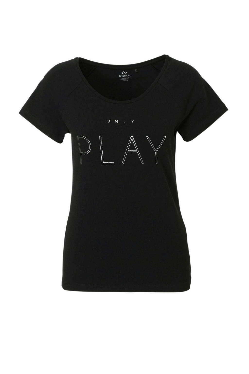 Only Play sport T-shirt zwart, Zwart