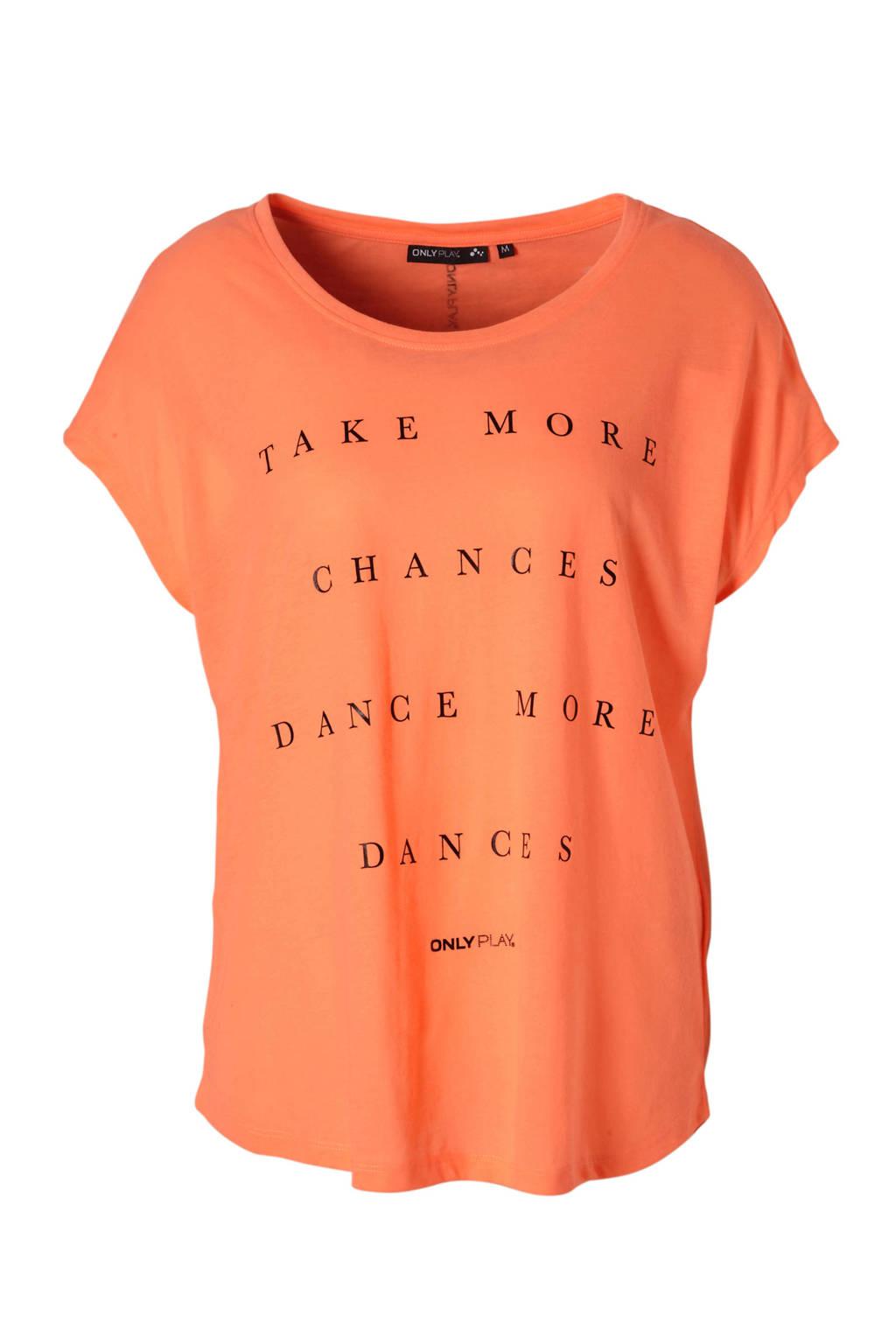 ONLY PLAY sport T-shirt neon oranje, neon oranje/zwart