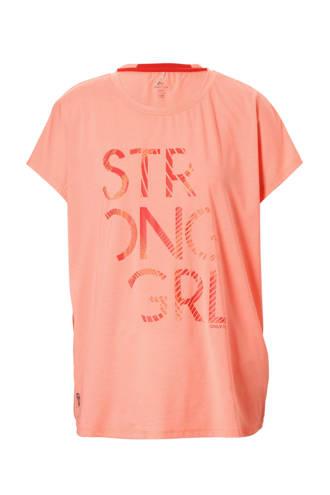 Curvy sport T-shirt oranje