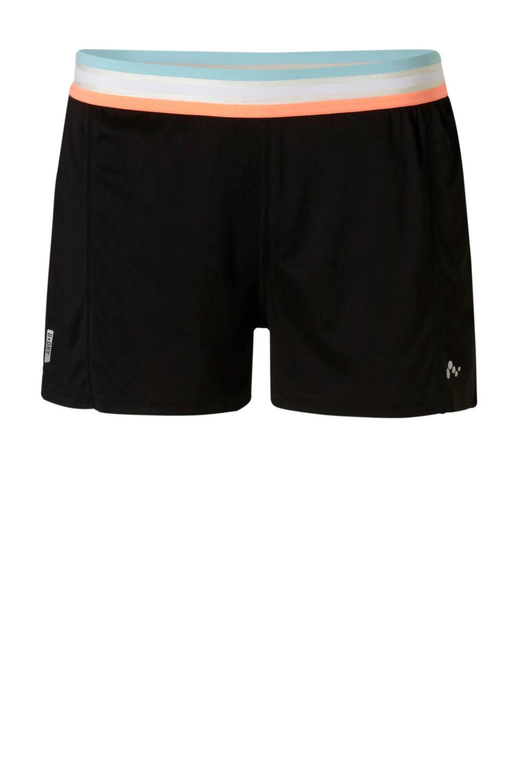 Only Play sportshort zwart, Zwart/oranje/lichtblauw/wit
