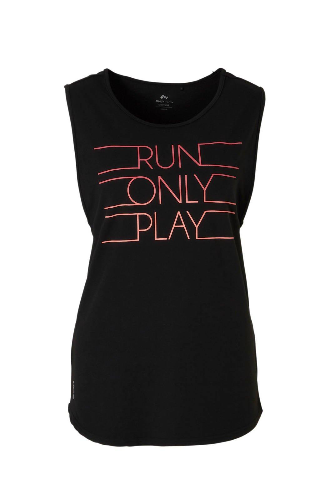 ONLY PLAY sporttop zwart, Zwart/roze