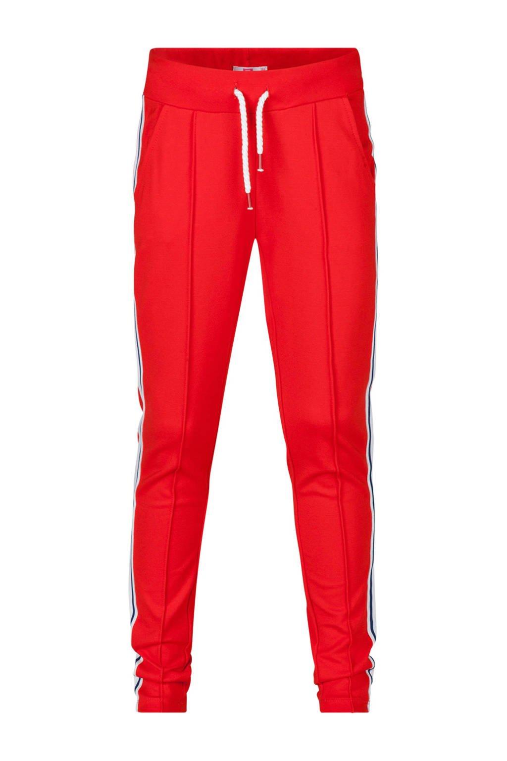 WE Fashion sweatpants met zijstreep rood, Rood/wit
