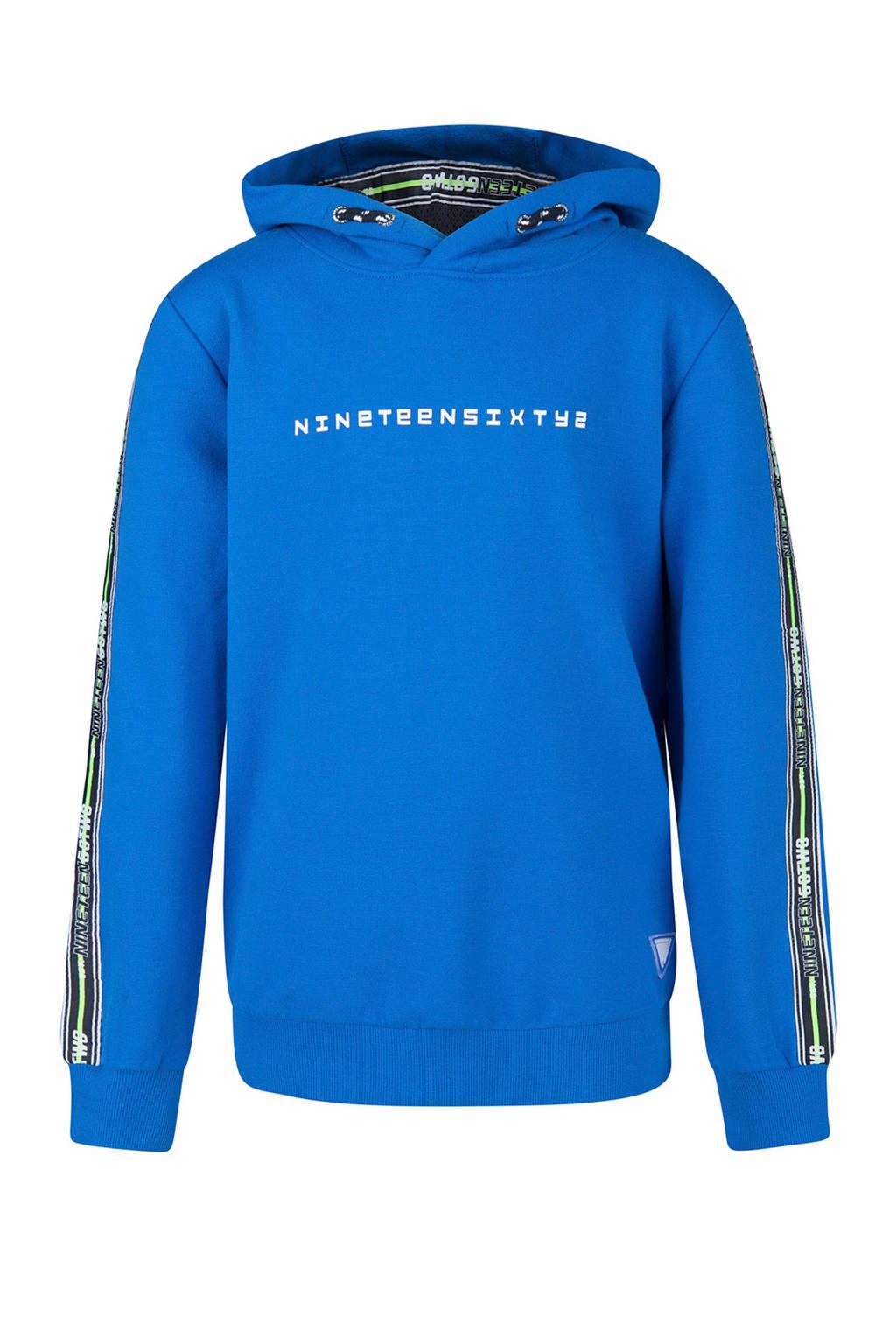 WE Fashion hoodie met tekst en zijstreep blauw, Blauw