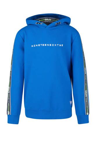hoodie met tekst en zijstreep blauw