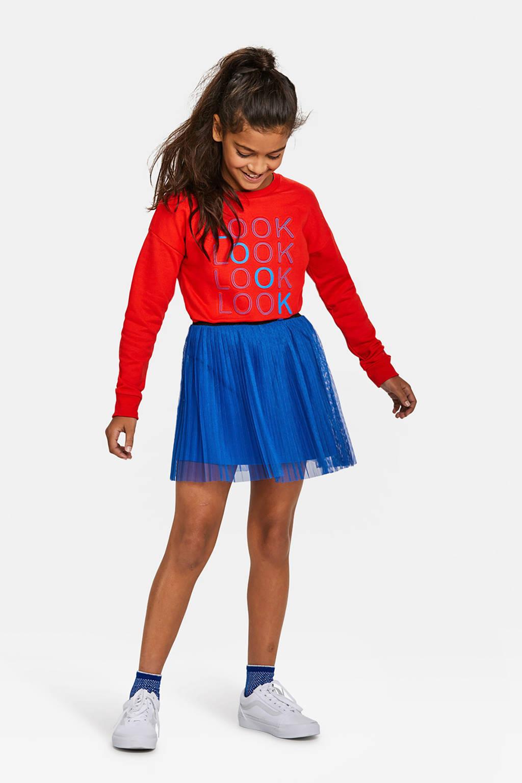 WE Fashion tule plissérok blauw, Blauw