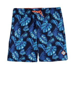 zwemshort met all over print blauw