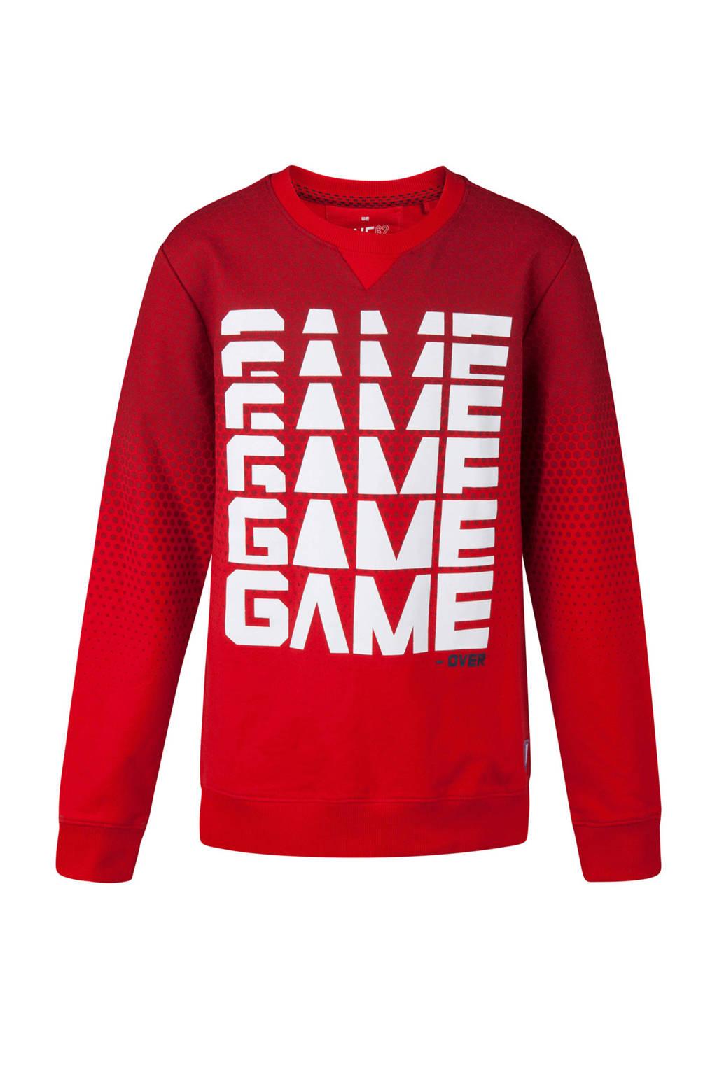 WE Fashion sweater met tekst rood, Rood/wit