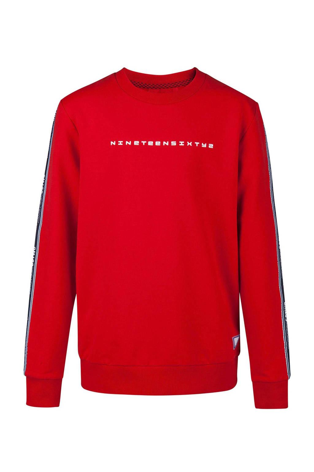 WE Fashion sweater met zijstreep en tekst rood, Rood