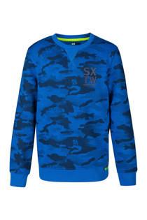 WE Fashion sweater met camouflageprint blauw (jongens)